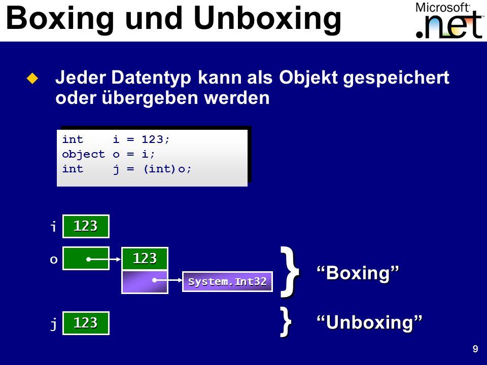 9 Boxing und Unboxing Jeder Datentyp kann als Objekt gespeichert oder übergeben werden 123 i o 123 System.Int32}Boxing 123 j}Unboxing int i = 123; obj