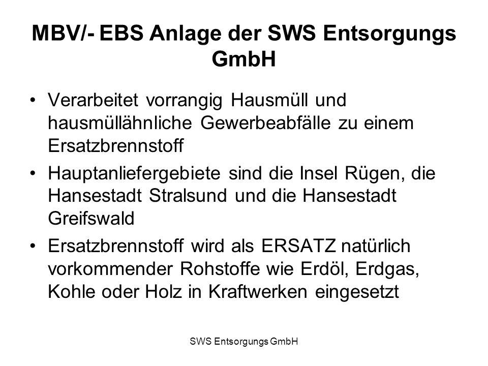 MBV/- EBS Anlage der SWS Entsorgungs GmbH Verarbeitet vorrangig Hausmüll und hausmüllähnliche Gewerbeabfälle zu einem Ersatzbrennstoff Hauptanlieferge