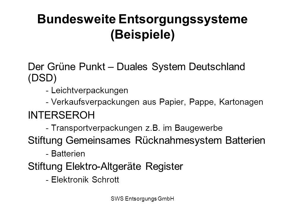 SWS Entsorgungs GmbH Bundesweite Entsorgungssysteme (Beispiele) Der Grüne Punkt – Duales System Deutschland (DSD) - Leichtverpackungen - Verkaufsverpa