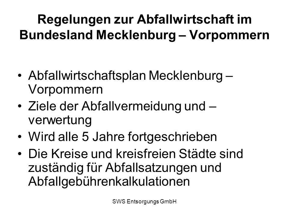 SWS Entsorgungs GmbH Regelungen zur Abfallwirtschaft im Bundesland Mecklenburg – Vorpommern Abfallwirtschaftsplan Mecklenburg – Vorpommern Ziele der A