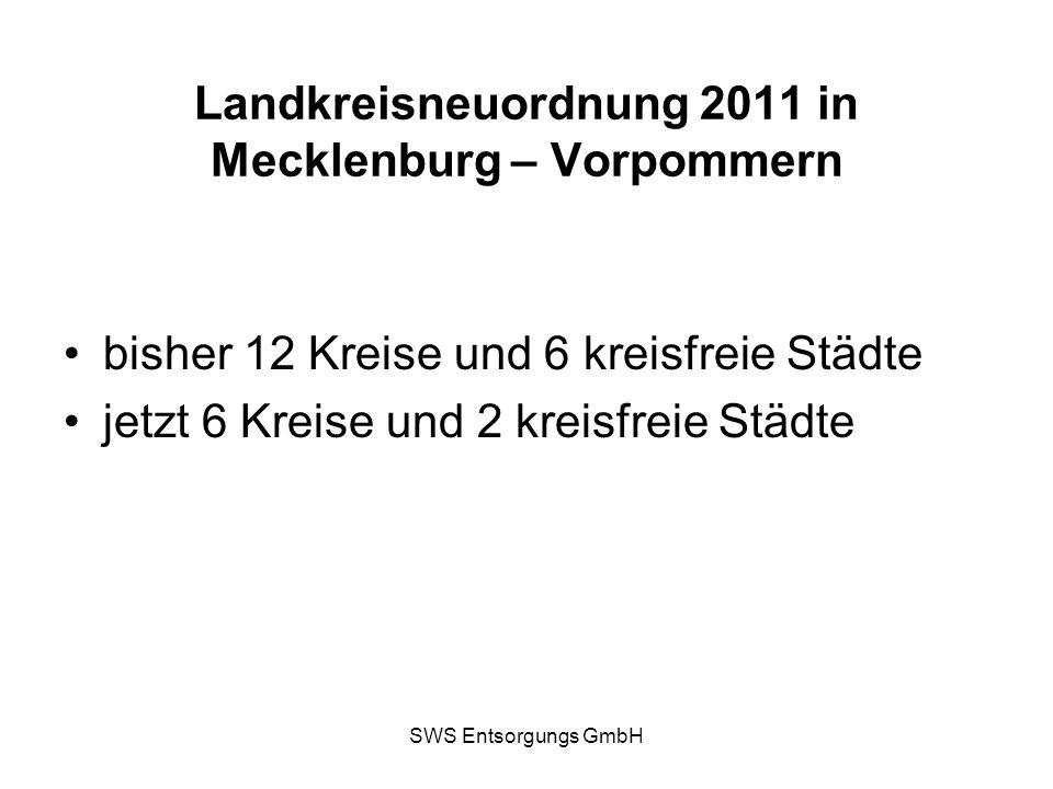 SWS Entsorgungs GmbH Landkreisneuordnung 2011 in Mecklenburg – Vorpommern bisher 12 Kreise und 6 kreisfreie Städte jetzt 6 Kreise und 2 kreisfreie Stä