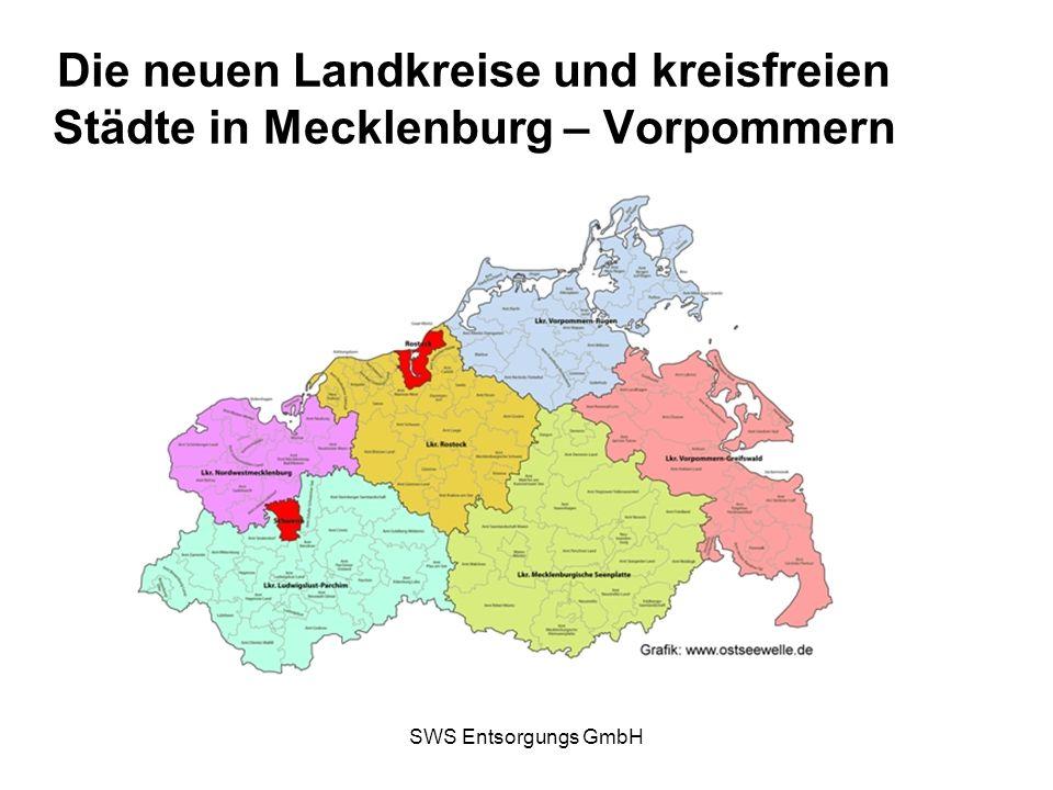 SWS Entsorgungs GmbH Abfallwirtschaft im Kreis Vorpommern – Rügen nach der Landkreisneuordnung Eigenbetrieb Abfallwirtschaft Zusammenführung der drei ehemaligen Gebiete mit ihren Abfallsatzungen und Abfallgebührenkalkulationen (Hansestadt Stralsund, Rügen, Nordvorpommern) Umsetzung von bundesweiten Gesetzen und Verordnungen, z.B.