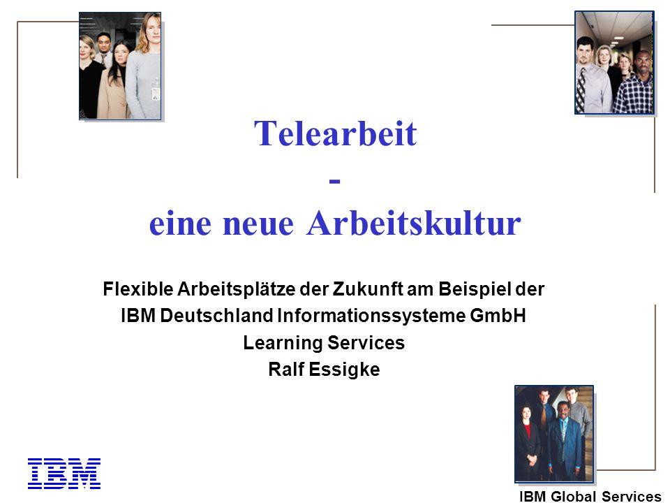 IBM Global Services Übersicht Telearbeit: Begriffserklärungen Formen Ausgangspunkte Voraussetzungen für die erfolgreiche Einführung Nutzen für Arbeitgeber und -nehmer Telearbeit bei IBM in Zahlen Komplettservice der IBM für Beratung und Einführung Weiterbildungsangebote für Tele