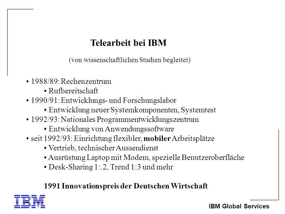IBM Global Services Telearbeit in Zahlen ca.1.500 Mitarbeiter im Technischen Aussendienst ca.