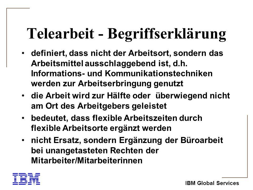IBM Global Services Telearbeit-Formen 1) Mobile Telearbeit: die Arbeit wird losgelöst von festen Orten, dort wo es zweckmässig erscheint verrichtet (z.B.