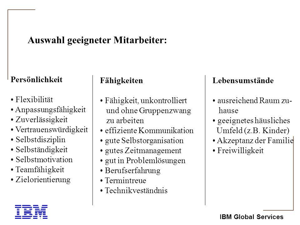 IBM Global Services Geeignete Tätigkeiten: ausreichender Autonomiegrad geringer Bedarf an nicht-elektronischen Ressourcen (Information und Aus- stattung geringe Notwendigkeit für häufige, ad hoc Face to Face Kommunikation persönliche Flexibilität und Kontrolle bezgl.