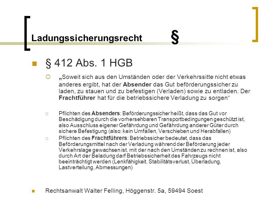 Ladungssicherungsrecht § § 823 Abs.