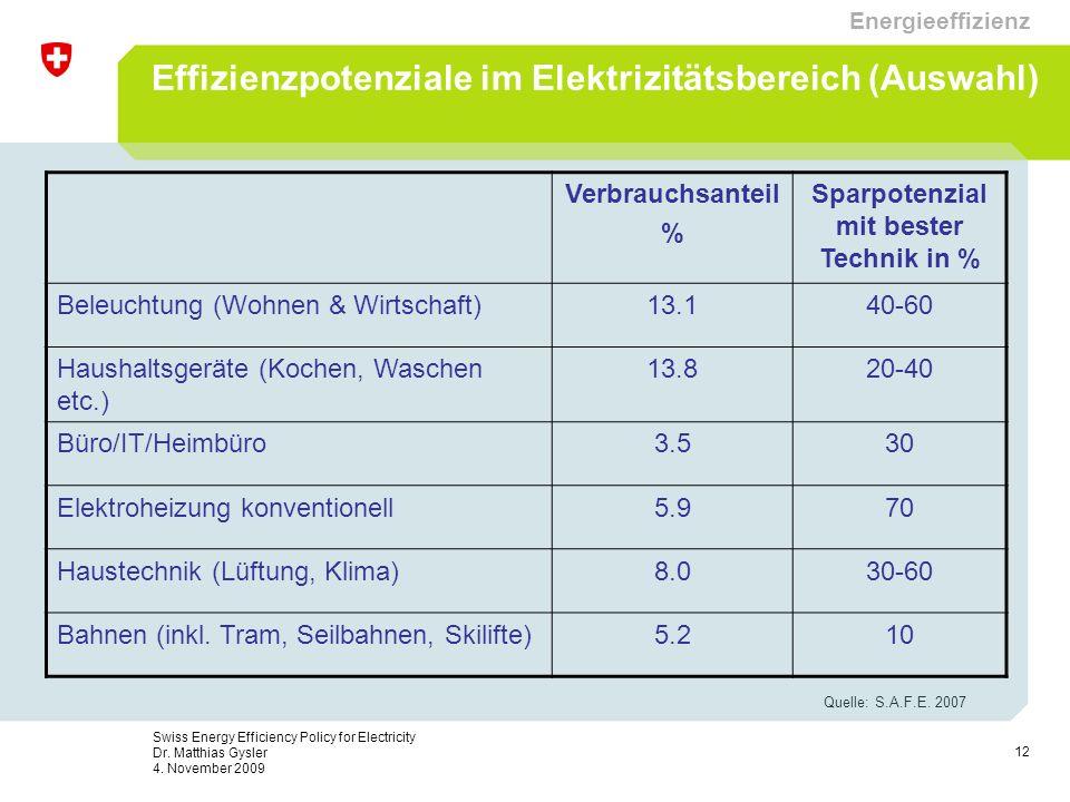 12 Swiss Energy Efficiency Policy for Electricity Dr. Matthias Gysler 4. November 2009 Effizienzpotenziale im Elektrizitätsbereich (Auswahl) Verbrauch