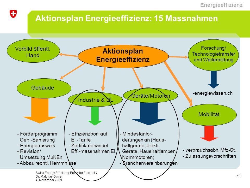 13 Swiss Energy Efficiency Policy for Electricity Dr. Matthias Gysler 4. November 2009 Aktionsplan Energieeffizienz Mobilität Geräte/Motoren - Förderp