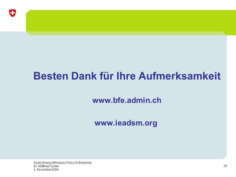 25 Swiss Energy Efficiency Policy for Electricity Dr. Matthias Gysler 4. November 2009 Besten Dank für Ihre Aufmerksamkeit www.bfe.admin.ch www.ieadsm