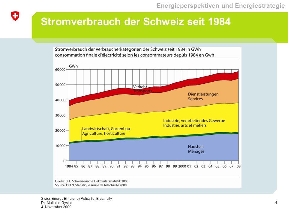 4 Swiss Energy Efficiency Policy for Electricity Dr. Matthias Gysler 4. November 2009 Stromverbrauch der Schweiz seit 1984 Energieperspektiven und Ene