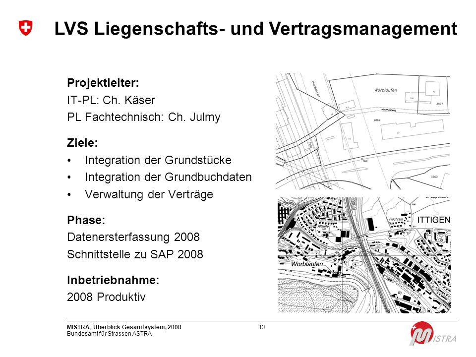 Bundesamt für Strassen ASTRA MISTRA, Überblick Gesamtsystem, 200813 Projektleiter: IT-PL: Ch. Käser PL Fachtechnisch: Ch. Julmy Ziele: Integration der