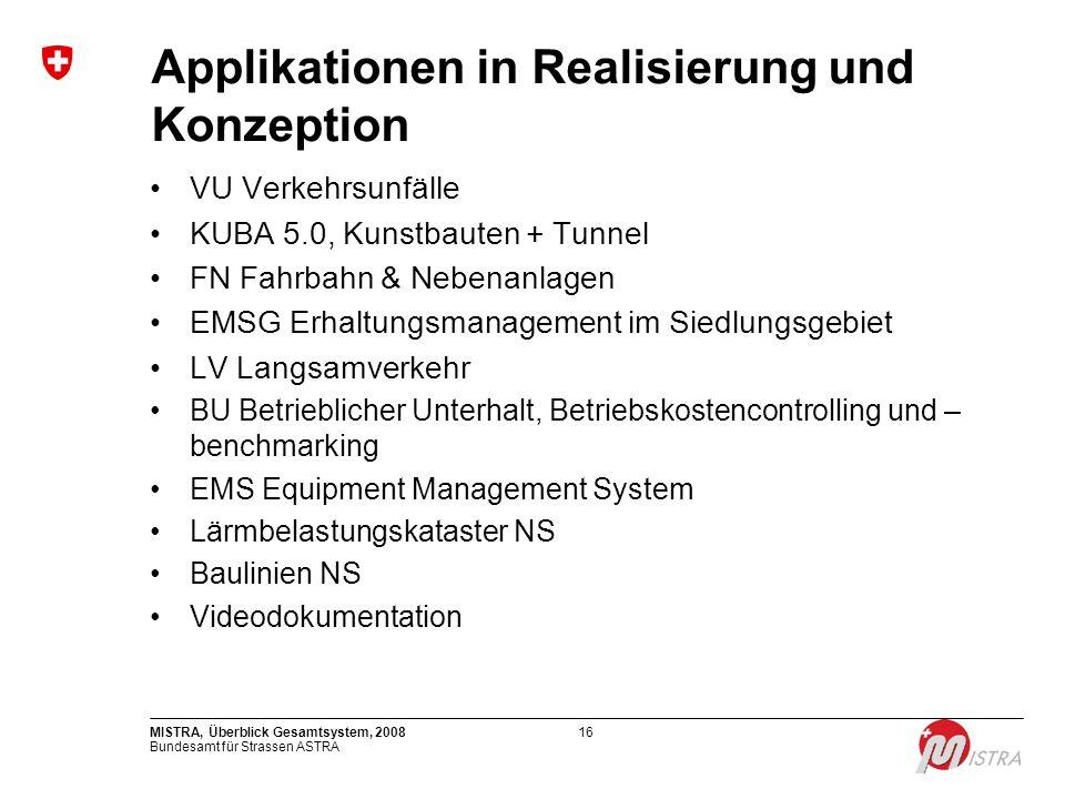 Bundesamt für Strassen ASTRA MISTRA, Überblick Gesamtsystem, 200816 Applikationen in Realisierung und Konzeption VU Verkehrsunfälle KUBA 5.0, Kunstbau