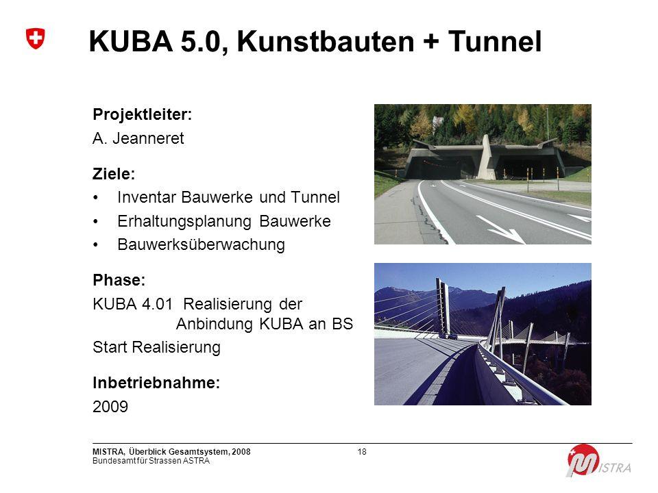 Bundesamt für Strassen ASTRA MISTRA, Überblick Gesamtsystem, 200818 Projektleiter: A. Jeanneret Ziele: Inventar Bauwerke und Tunnel Erhaltungsplanung