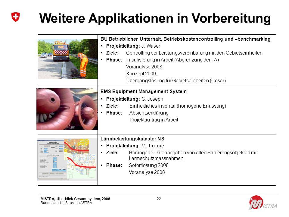 Bundesamt für Strassen ASTRA MISTRA, Überblick Gesamtsystem, 200822 Weitere Applikationen in Vorbereitung BU Betrieblicher Unterhalt, Betriebskostenco