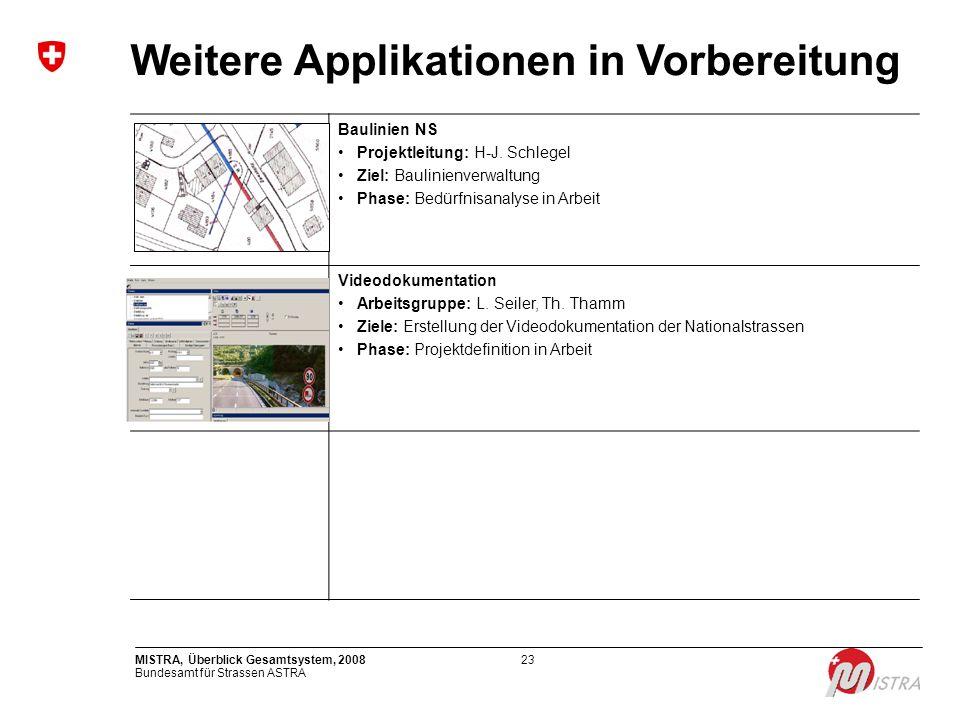 Bundesamt für Strassen ASTRA MISTRA, Überblick Gesamtsystem, 200823 Weitere Applikationen in Vorbereitung Baulinien NS Projektleitung: H-J. Schlegel Z