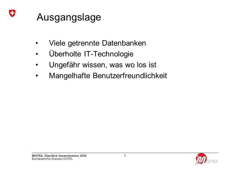 Bundesamt für Strassen ASTRA MISTRA, Überblick Gesamtsystem, 200814 Projektleiter: PL Fachtechnisch: U.