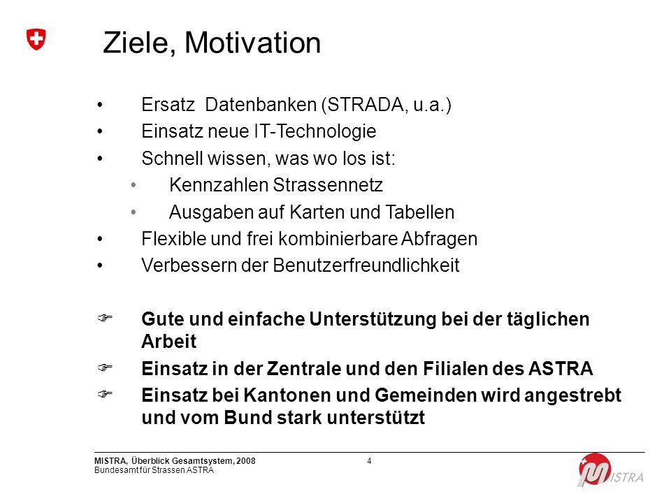 Bundesamt für Strassen ASTRA MISTRA, Überblick Gesamtsystem, 20084 Ziele, Motivation Ersatz Datenbanken (STRADA, u.a.) Einsatz neue IT-Technologie Sch