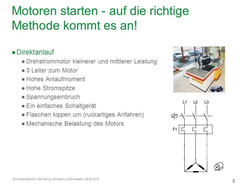 Schneider Electric 5 - Marketing - Christian von Ehrenstein - 25.02.2012 Motoren starten - auf die richtige Methode kommt es an.