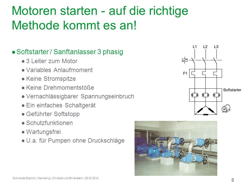 Schneider Electric 8 - Marketing - Christian von Ehrenstein - 25.02.2012 Motoren starten - auf die richtige Methode kommt es an.