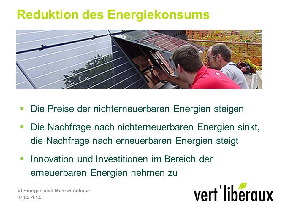 Reduktion des Energiekonsums Die Preise der nichterneuerbaren Energien steigen Die Nachfrage nach nichterneuerbaren Energien sinkt, die Nachfrage nach erneuerbaren Energien steigt Innovation und Investitionen im Bereich der erneuerbaren Energien nehmen zu 07.04.2014 VI Energie- statt Mehrwertsteuer