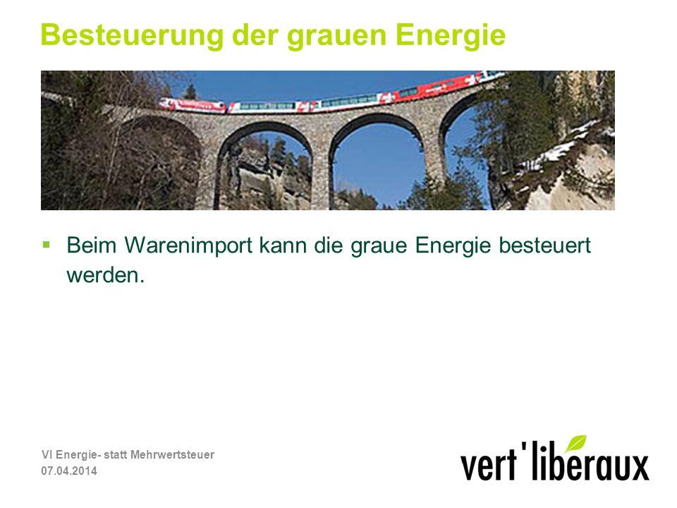Besteuerung der grauen Energie Beim Warenimport kann die graue Energie besteuert werden.