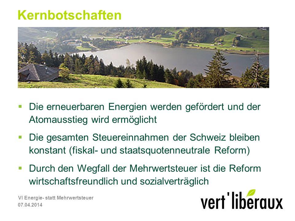 Kernbotschaften Die erneuerbaren Energien werden gefördert und der Atomausstieg wird ermöglicht Die gesamten Steuereinnahmen der Schweiz bleiben konstant (fiskal- und staatsquotenneutrale Reform) Durch den Wegfall der Mehrwertsteuer ist die Reform wirtschaftsfreundlich und sozialverträglich 07.04.2014 VI Energie- statt Mehrwertsteuer