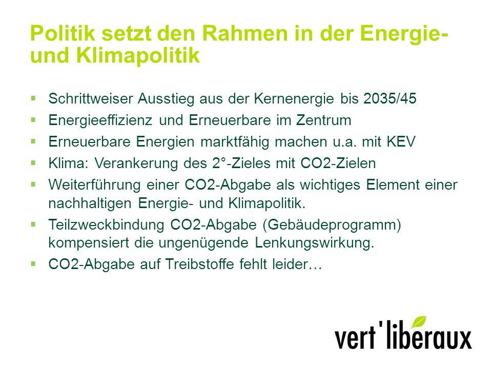 Politik setzt den Rahmen in der Energie- und Klimapolitik Schrittweiser Ausstieg aus der Kernenergie bis 2035/45 Energieeffizienz und Erneuerbare im Zentrum Erneuerbare Energien marktfähig machen u.a.