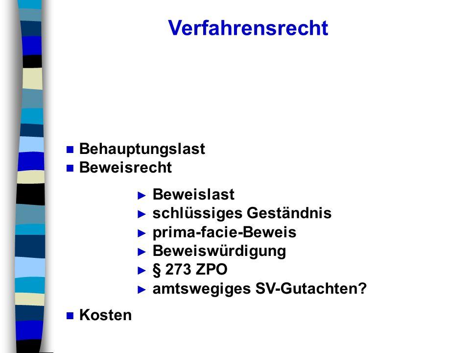 Verfahrensrecht Behauptungslast Beweisrecht Beweislast schlüssiges Geständnis prima-facie-Beweis Beweiswürdigung § 273 ZPO amtswegiges SV-Gutachten? K