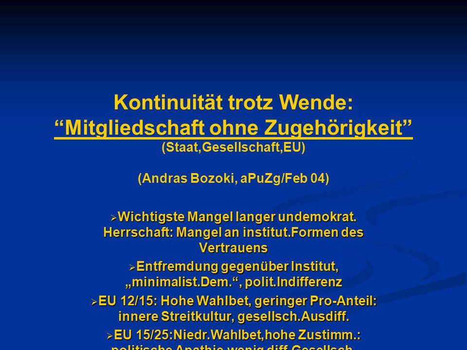 Kontinuität trotz Wende: Mitgliedschaft ohne Zugehörigkeit (Staat,Gesellschaft,EU) (Andras Bozoki, aPuZg/Feb 04) Wichtigste Mangel langer undemokrat.