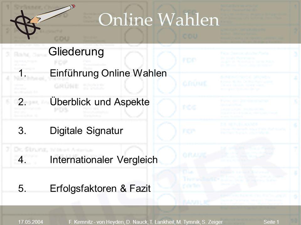 Seite 117.05.2004F. Kemnitz - von Heyden, D. Nauck, T. Lankheit, M. Tymnik, S. Zeiger Gliederung 1. Einführung Online Wahlen 2. Überblick und Aspekte