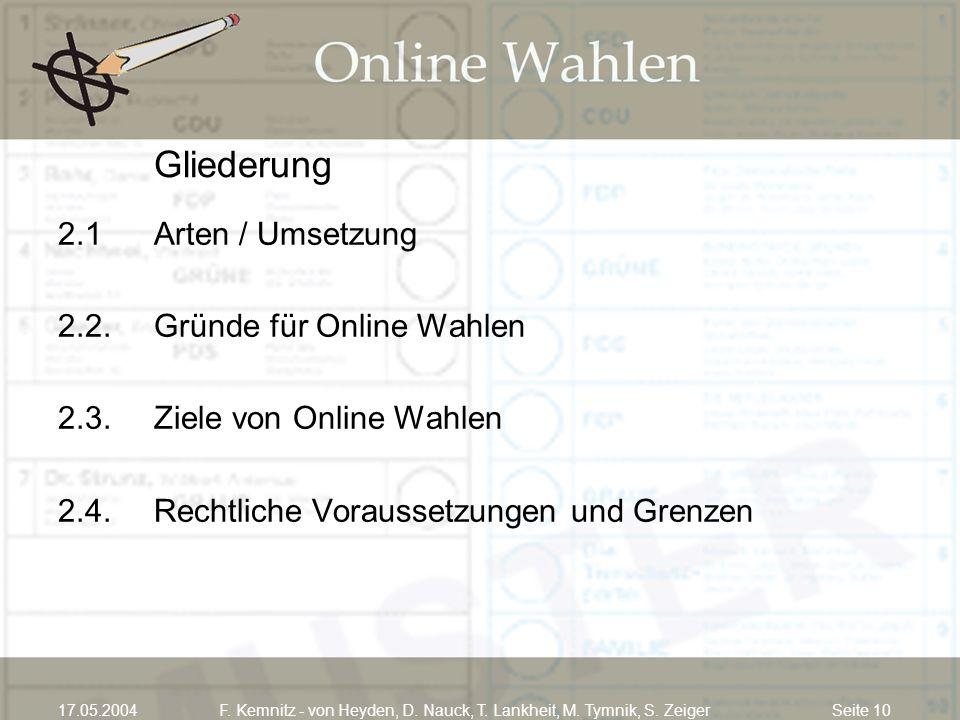 Seite 1017.05.2004F. Kemnitz - von Heyden, D. Nauck, T. Lankheit, M. Tymnik, S. Zeiger Gliederung 2.1Arten / Umsetzung 2.2.Gründe für Online Wahlen 2.