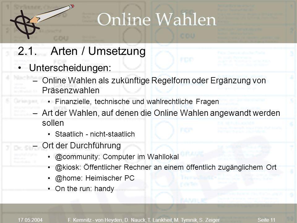 Seite 1117.05.2004F. Kemnitz - von Heyden, D. Nauck, T. Lankheit, M. Tymnik, S. Zeiger 2.1. Arten / Umsetzung Unterscheidungen: –Online Wahlen als zuk