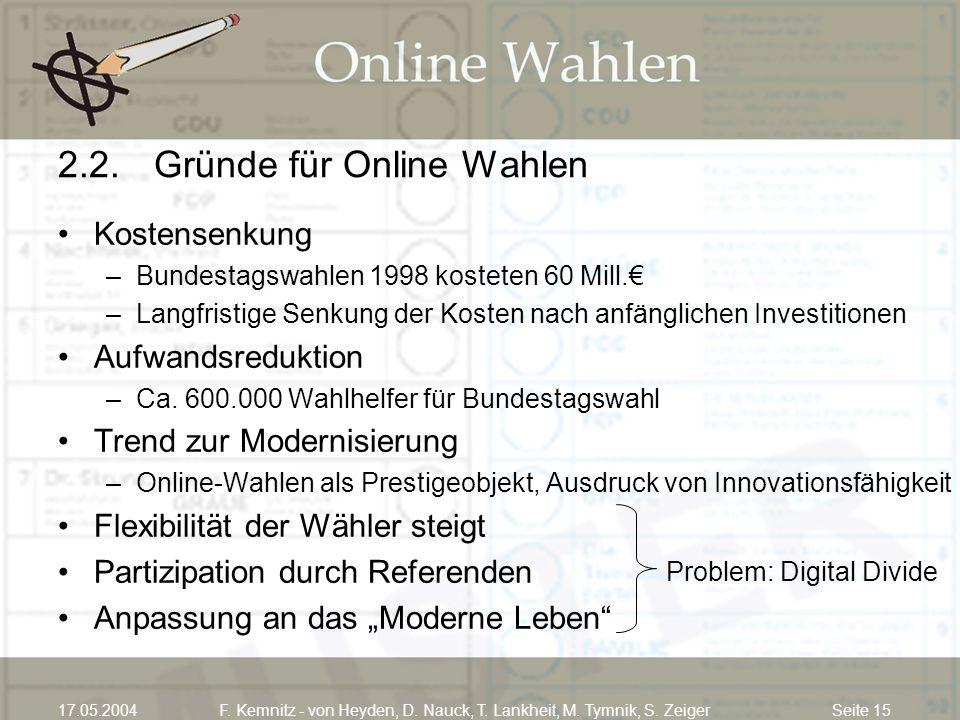 Seite 1517.05.2004F. Kemnitz - von Heyden, D. Nauck, T. Lankheit, M. Tymnik, S. Zeiger 2.2.Gründe für Online Wahlen Kostensenkung –Bundestagswahlen 19