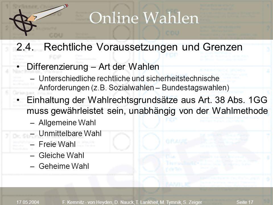 Seite 1717.05.2004F. Kemnitz - von Heyden, D. Nauck, T. Lankheit, M. Tymnik, S. Zeiger 2.4.Rechtliche Voraussetzungen und Grenzen Differenzierung – Ar