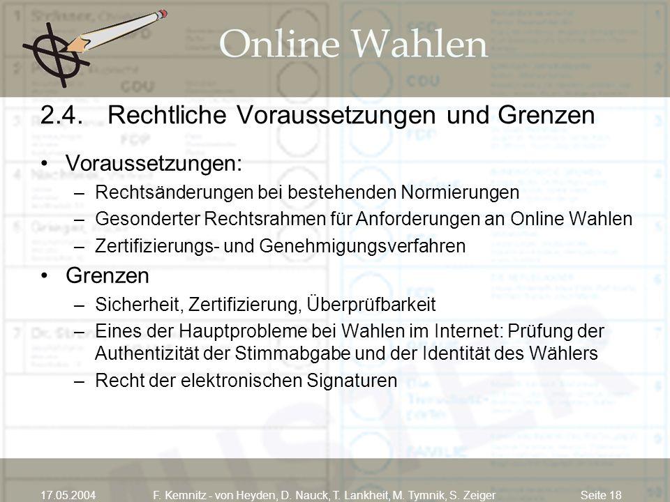 Seite 1817.05.2004F. Kemnitz - von Heyden, D. Nauck, T. Lankheit, M. Tymnik, S. Zeiger 2.4.Rechtliche Voraussetzungen und Grenzen Voraussetzungen: –Re