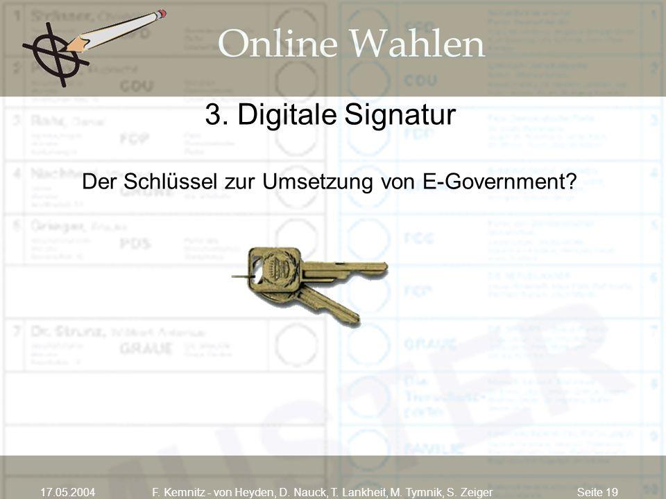 Seite 1917.05.2004F. Kemnitz - von Heyden, D. Nauck, T. Lankheit, M. Tymnik, S. Zeiger 3. Digitale Signatur Der Schlüssel zur Umsetzung von E-Governme