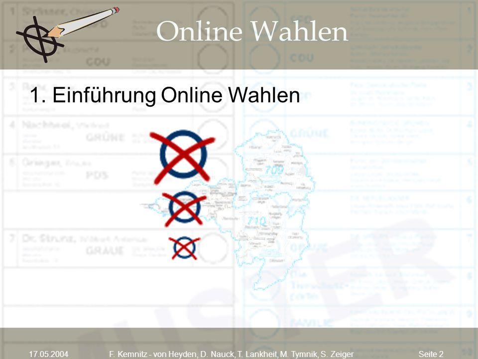Seite 217.05.2004F. Kemnitz - von Heyden, D. Nauck, T. Lankheit, M. Tymnik, S. Zeiger 1. Einführung Online Wahlen