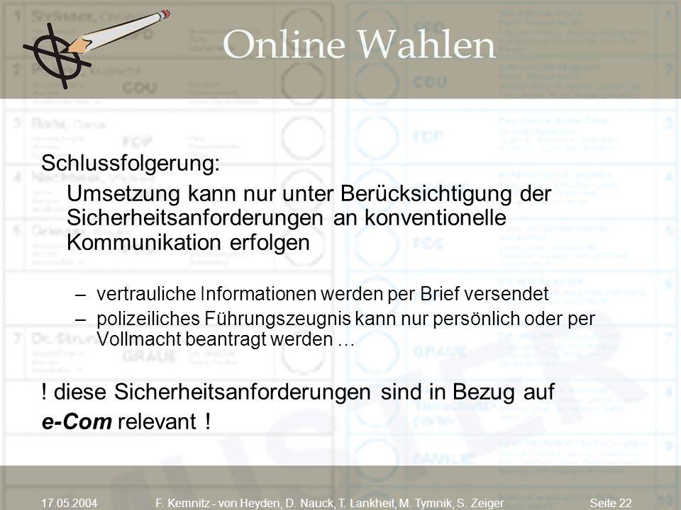 Seite 2217.05.2004F. Kemnitz - von Heyden, D. Nauck, T. Lankheit, M. Tymnik, S. Zeiger Schlussfolgerung: Umsetzung kann nur unter Berücksichtigung der