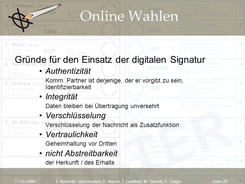 Seite 2617.05.2004F. Kemnitz - von Heyden, D. Nauck, T. Lankheit, M. Tymnik, S. Zeiger Gründe für den Einsatz der digitalen Signatur Authentizität Kom