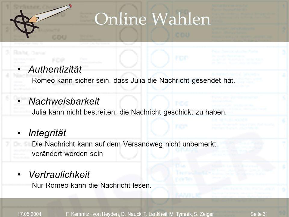 Seite 3117.05.2004F. Kemnitz - von Heyden, D. Nauck, T. Lankheit, M. Tymnik, S. Zeiger Authentizität Romeo kann sicher sein, dass Julia die Nachricht