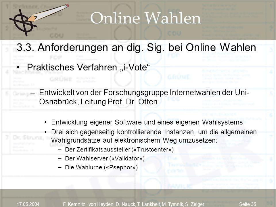 Seite 3517.05.2004F. Kemnitz - von Heyden, D. Nauck, T. Lankheit, M. Tymnik, S. Zeiger 3.3. Anforderungen an dig. Sig. bei Online Wahlen Praktisches V