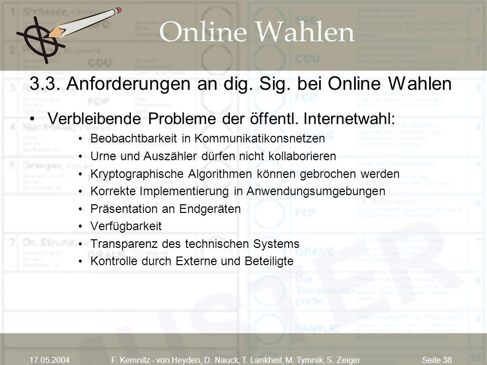 Seite 3817.05.2004F. Kemnitz - von Heyden, D. Nauck, T. Lankheit, M. Tymnik, S. Zeiger 3.3. Anforderungen an dig. Sig. bei Online Wahlen Verbleibende