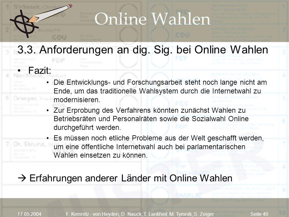 Seite 4017.05.2004F. Kemnitz - von Heyden, D. Nauck, T. Lankheit, M. Tymnik, S. Zeiger 3.3. Anforderungen an dig. Sig. bei Online Wahlen Fazit: Die En