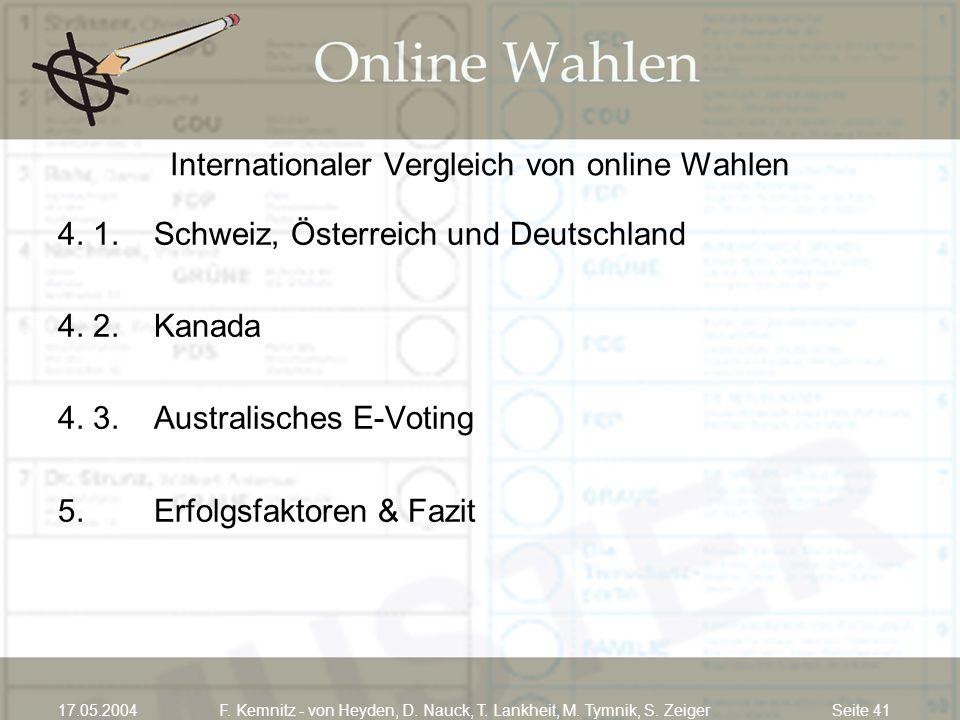 Seite 4117.05.2004F. Kemnitz - von Heyden, D. Nauck, T. Lankheit, M. Tymnik, S. Zeiger Internationaler Vergleich von online Wahlen 4. 1.Schweiz, Öster