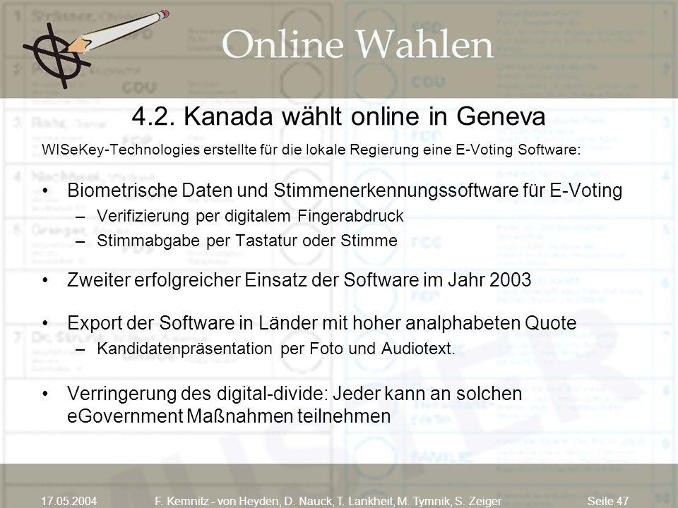 Seite 4717.05.2004F. Kemnitz - von Heyden, D. Nauck, T. Lankheit, M. Tymnik, S. Zeiger 4.2. Kanada wählt online in Geneva WISeKey-Technologies erstell