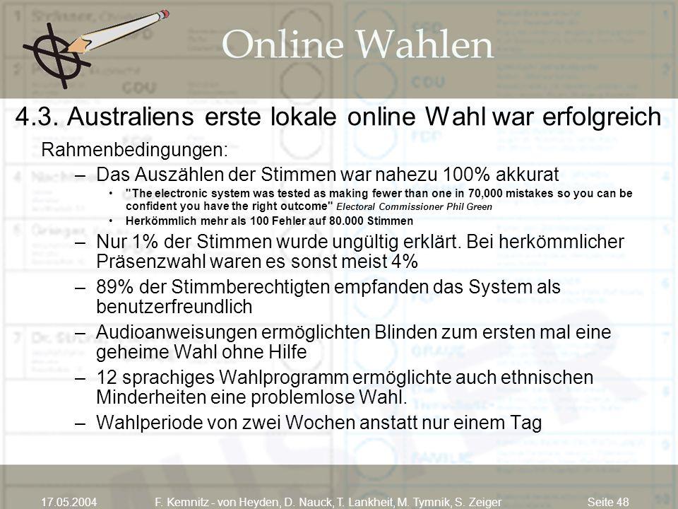 Seite 4817.05.2004F. Kemnitz - von Heyden, D. Nauck, T. Lankheit, M. Tymnik, S. Zeiger 4.3. Australiens erste lokale online Wahl war erfolgreich Rahme