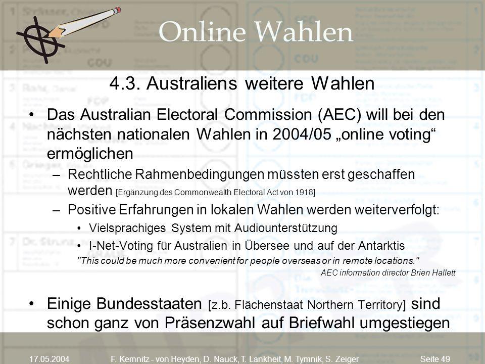 Seite 4917.05.2004F. Kemnitz - von Heyden, D. Nauck, T. Lankheit, M. Tymnik, S. Zeiger 4.3. Australiens weitere Wahlen Das Australian Electoral Commis