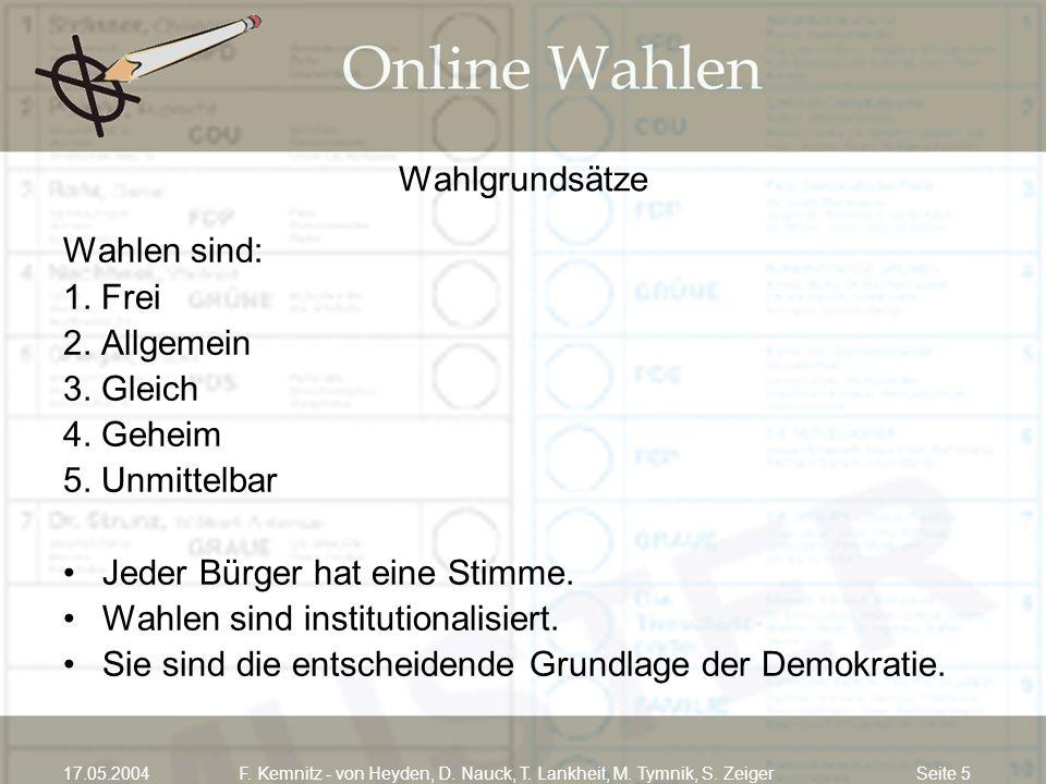 Seite 517.05.2004F. Kemnitz - von Heyden, D. Nauck, T. Lankheit, M. Tymnik, S. Zeiger Wahlgrundsätze Wahlen sind: 1. Frei 2. Allgemein 3. Gleich 4. Ge