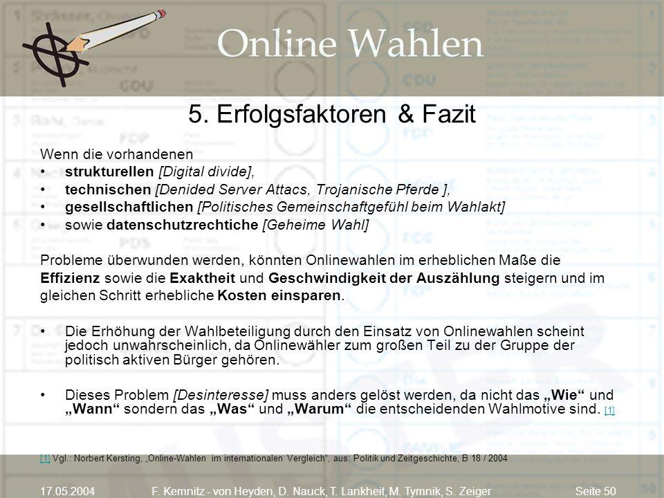 Seite 5017.05.2004F. Kemnitz - von Heyden, D. Nauck, T. Lankheit, M. Tymnik, S. Zeiger 5. Erfolgsfaktoren & Fazit Wenn die vorhandenen strukturellen [
